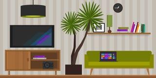 Ejemplo interior casero del vector de la sala de estar stock de ilustración