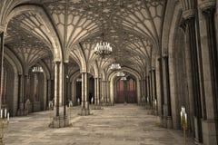 Ejemplo interior 3d de la catedral gótica Foto de archivo