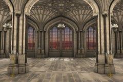 Ejemplo interior 3d de la catedral gótica Fotos de archivo