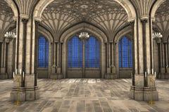 Ejemplo interior 3d de la catedral gótica Foto de archivo libre de regalías