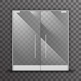 Ejemplo interior de cristal realista transparente cerrado del vector del elemento del diseño arquitectónico de las puertas dobles Imágenes de archivo libres de regalías