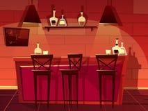 Ejemplo interior de la historieta del vector del contador del pub de la barra libre illustration