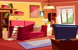 Ejemplo interior de la historieta del vector de la sala de estar stock de ilustración