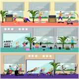 Ejemplo interior del vector del centro de aptitud La gente se resuelve en banderas horizontales del gimnasio Concepto de las acti stock de ilustración