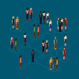ejemplo isométrico 3d de los miembros de la sociedad con los hombres y las mujeres población Concepto social de la red Imagenes de archivo