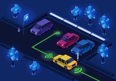 Ejemplo isométrico 3D del estacionamiento para la iluminación del estacionamiento de la noche del diseño de la tecnología de la m stock de ilustración