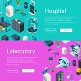 Ejemplo isométrico de la bandera del web de los iconos del hospital del vector stock de ilustración