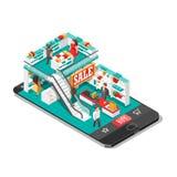 Ejemplo isométrico de la sombra de las compras en línea con la tienda del teléfono móvil Imágenes de archivo libres de regalías