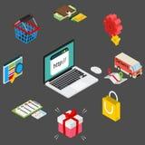 Ejemplo isométrico de las compras en línea Fotos de archivo