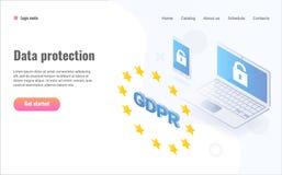 Ejemplo isométrico del concepto de GDPR Regulación general de la protección de datos ilustración del vector