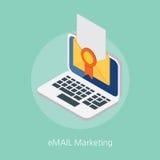 Ejemplo isométrico del diseño de concepto del márketing del correo electrónico 3d Fotos de archivo libres de regalías
