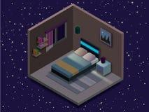 Ejemplo isométrico del dormitorio Ejemplo plano del vector libre illustration