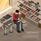 Ejemplo isométrico del fabricante de zapato ilustración del vector