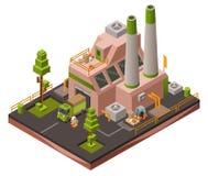 Ejemplo isométrico del vector 3D de la planta de fábrica de los vehículos de transporte industriales modernos del almacén y de lo ilustración del vector