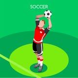 Ejemplo isométrico del vector 3D de los juegos del verano del tiro del fútbol Foto de archivo