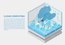 Ejemplo isométrico del vector de Cloud Computing Extracto 3D infographic con los dispositivos móviles foto de archivo libre de regalías