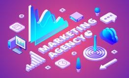 Ejemplo isométrico del vector de la agencia del márketing ilustración del vector