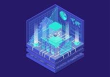 Ejemplo isométrico del vector de la computación de Quantum opinión 3D sobre el ordenador cuántico conceptual imagenes de archivo