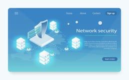 Ejemplo isométrico del vector de la seguridad de datos de la red Centro de datos de la nube, icono del sitio del servidor, proces ilustración del vector