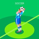 Ejemplo isométrico del vector de los juegos 3D del verano del tiro del fútbol Stock de ilustración