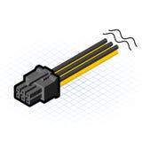 Ejemplo isométrico del vector del conector de 6 Pin PCIe Fotografía de archivo libre de regalías