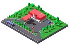 Ejemplo isométrico del vector Gasolinera y mini-mercado cerca del camino de la carretera stock de ilustración