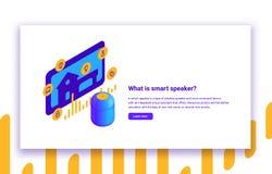 Ejemplo isométrico del vector del locutor elegante y del ayudante de la voz digital de la automatización casera con infographic stock de ilustración