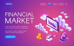 Ejemplo isométrico del vector del mercado financiero libre illustration