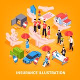 Ejemplo isométrico del vector del seguro stock de ilustración