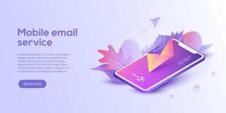 Ejemplo isométrico del vector del servicio de correo electrónico Mes del correo electrónico ilustración del vector
