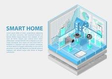 Ejemplo isométrico del vector del Smart Home Extracto 3D infographic para los temas relacionados de la automatización casera ilustración del vector