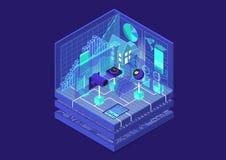Ejemplo isométrico del vector del Smart Home Extracto 3D infographic para los temas relacionados de la automatización casera fotos de archivo