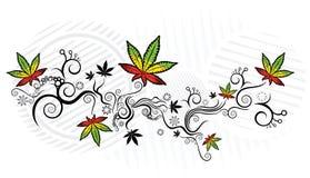 Ejemplo jamaicano del fondo de la textura de la hoja de la marijuana del estilo Imágenes de archivo libres de regalías
