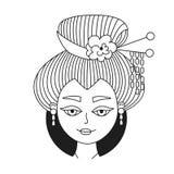 Ejemplo japonés del vector del retrato de la mujer del geisha fotografía de archivo