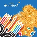 Ejemplo juish del vector de Jánuca icono simple del vector del menorah judío el hanuka mira al trasluz símbolo libre illustration