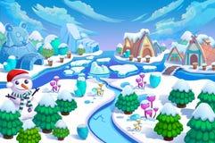 Ejemplo: ¡La entrada del mundo de la nieve! Hombre de la nieve, árboles verdes y pequeños flores, montaña del hielo, río, casas e Imágenes de archivo libres de regalías