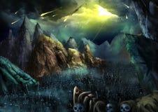 Ejemplo: ¡La guerra va a comenzar! Caída de la bola de fuego del cielo Los ejércitos esqueléticos oscuros que marchan en el valle stock de ilustración