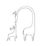 Ejemplo: Libro de colorear: Los ciervos asombrosos y la jirafa Imágenes de archivo libres de regalías