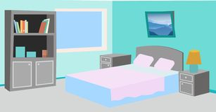 Ejemplo limpio simple del dormitorio de la historieta stock de ilustración