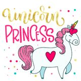 Ejemplo lindo aislado exhausto del unicornio de la historieta del garabato de oro de la mano de Unicorn Princess de la hoja del t ilustración del vector