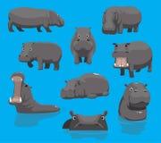 Ejemplo lindo de bostezo del vector de la historieta del hipopótamo Fotos de archivo