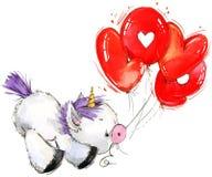 Ejemplo lindo de la acuarela del unicornio Tarjeta del amor stock de ilustración