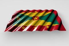 Ejemplo lindo de la bandera 3d del día del himno - bandera brillante de Grenada con la mentira grande de los dobleces aislada en  libre illustration
