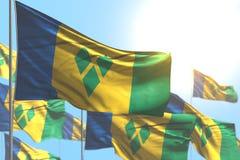 Ejemplo lindo de la bandera 3d del día del himno - muchas banderas de San Vicente y las Granadinas están agitando contra imagen d libre illustration