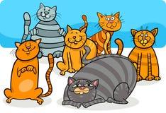 Ejemplo lindo de la historieta del grupo de los animales domésticos de los gatos ilustración del vector