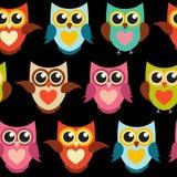 Ejemplo lindo de Owl Seamless Pattern Background Vector Foto de archivo