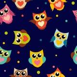 Ejemplo lindo de Owl Seamless Pattern Background Vector Fotos de archivo