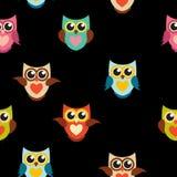 Ejemplo lindo de Owl Seamless Pattern Background Vector Imagen de archivo libre de regalías