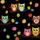 Ejemplo lindo de Owl Seamless Pattern Background Vector Fotografía de archivo