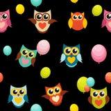 Ejemplo lindo de Owl Seamless Pattern Background Vector Imagen de archivo